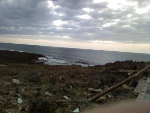 手前にいろいろ 奥に海 やや明るい空