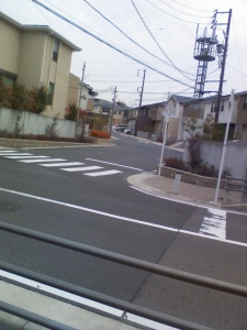 道路を挟んで奥のほうに一戸建てが並んでいる 外装の色トーンが統一されている